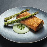 Grilled Salmon with Asparagus and  Wasabi creamy Sauce